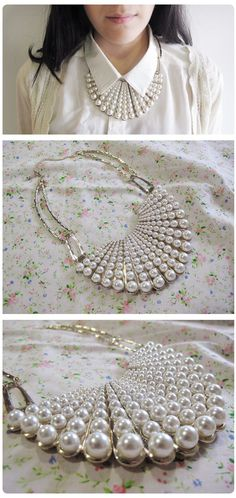 costume jewelry collar necklace to hypoallergenic collar necklace opposite collar necklace with lock underneath gold snake collar necklace Pearl Jewelry, Wire Jewelry, Jewelry Crafts, Beaded Jewelry, Jewelry Necklaces, Cheap Necklaces, Jewellery Rings, Fashion Jewellery, Gold Jewelry
