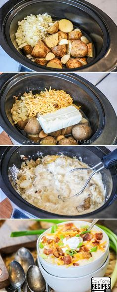 My Husband said this is the  BEST Soup!   Loaded Potato Soup Crock Pot recipe #crockpot #slowcooker #soup Cooking Wild Rice, Carrots, Slow Cooker, Chicken, Meat, Food, Carrot, Eten, Hoods