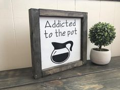Vintage Home Decor Excited to share this item from my shop: Addicted to the pot coffee bar decor sign.Vintage Home Decor Excited to share this item from my shop: Addicted to the pot coffee bar decor sign Easy Home Decor, Home Decor Kitchen, Cheap Home Decor, Bar Kitchen, Kitchen Ideas, Kitchen Inspiration, Decorating Kitchen, Coffee Kitchen Decor, Kitchen Decor Signs