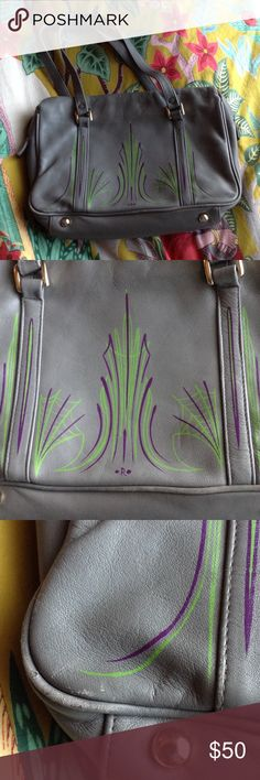 Upcycled vintage purse w/ professional pinstripe🖌 Be the belle of the ball with this glam handbag! It may be GREY but there's nothing boring about this purse! Pinstriped professionally by an OC artist! Rockabilly, psychobilly, and pin-up style! Has some wear but nothing that will prevent it from turning heads! Refer to pictures for details. Ships from a pet and smoke free home. 💜💚💜💚 Bags Shoulder Bags