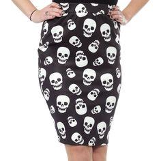 578299f1b20 Inked Boutique - Lust for Skulls Scuba Skirt Rockabilly Punk Goth  www.inkedboutique.com