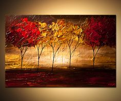 Original abstract art paintings by Osnat - group of trees