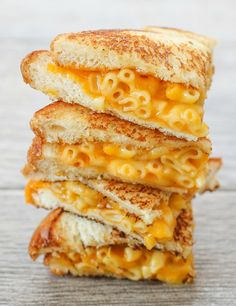 Grilled Macaroni and cheese sandwich..I made this but I used a tortilla and it was crispy so it was a grilled mac and cheese quesadilla.