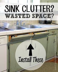 """Do you hate having wasted space? Here's a little trick for your kitchen that utilizes the space in front of your sink. You can install some """"hidey drawers"""" as I call them. Technically its tilt out drawers that you can store things that normally clutter up the back of your sink… sponges, brushes etc. You can make good use of space and de-clutter your sink all at once!"""