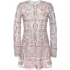 Mary Katrantzou Letter Nil Jurado Dress ($1,820) ❤ liked on Polyvore featuring dresses, see through dress, white dress, white long sleeve dress, slimming dresses and transparent dress