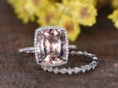 4.4ct natural pink morganite engagement ring set,14k white gold Milgrain diamond wedding band,2pcs bridal ring set,10x12mm cushion gemstone - BBBGEM