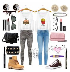 """""""Best Friends/Polar Opposites"""" by stitchxtoothless ❤ liked on Polyvore featuring True Religion, Frame Denim, Converse, Valentino, Accessorize, Frye, Bling Jewelry, Christian Dior, tarte and Bottega Veneta"""