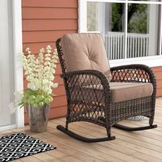 Alcott Hill Yara Rocking Chair with Cushions Fabric: Brown Teak Rocking Chair, Outdoor Rocking Chairs, Wicker Chairs, Patio Chairs, Desk Chairs, Adirondack Chairs, Chair Cushions, Dining Chairs, Clearance Outdoor Furniture
