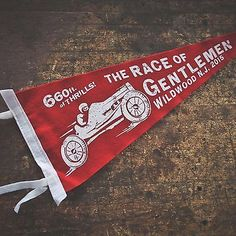 The Race of Gentlemen Vintage Style Race Car Pennant Retro Memorabilia