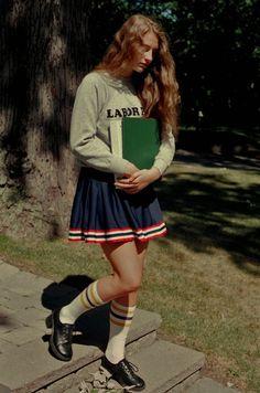 school girl knee socks cheerleader skirt books Petra Collins
