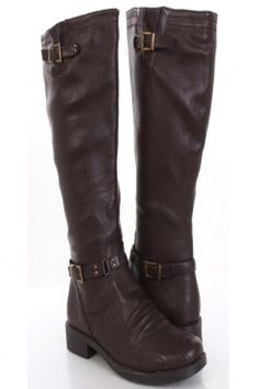 Brown Faux Leather Buckle Strap Decor Knee High Flat Boots