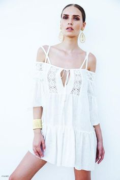 a43fad0f76 Off The Shoulder Crochet Cover Up Dress. Designer SwimwearBeach ...