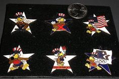 7 Vintage 1984 Olympic Collector Pins featuring Sam Eagle