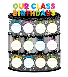 Creative Teaching Press BW Collection Our Class Birthdays Chart Birthday Chart Classroom, Birthday Bulletin Boards, Classroom Charts, Birthday Charts, Classroom Posters, Classroom Displays, Classroom Decor, Birthday Chart Images, Classroom Display Boards