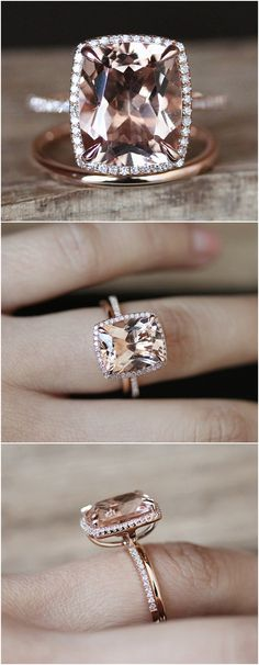 2pcs Morganite Engagement Ring Set VS 10*12mm Cushion Cut Morganite Ring Solid Gold Plain Wedding Ring Set 14K Rose Gold Ring Set Bridal Set