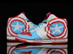 Google Image Result for http://www.nikekickswin.com/images/Nike-Dunk-High-Customs-Captain-America-Red-Blue-White.jpg