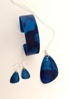 Gorgeous deep ocean blue aluminium jewellery, fresh of my bench today!
