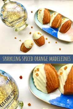 Sparkling Spiced Orange Madeleines; cosy cinnamon-spiked French madeleines with orange zest, white chocolate and sweet gin liqueur. Orange Zest, White Chocolate, Gin, Great Recipes, Spices, Sparkle, Sweet, Food, Madeleine