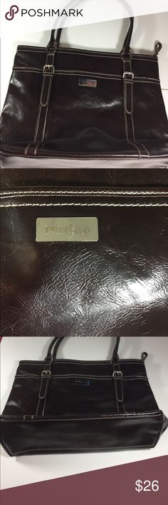 """🌺OFFERS🌺 Nine & Co Brown Bag Purse Approximately 12.5"""" across the bottom. 15"""" across sides. 12.5"""" height. Handles approximately 8"""" above Purse.  See pics for quality. My opinion is like new and beautiful Nine & Co. Bags"""