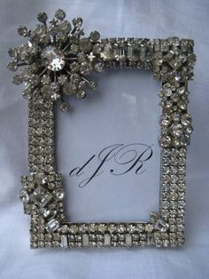Stunning Rhinestone Picture Frame Made with Vintage Jewelry