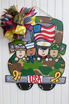 Support the troops door hanger Yellow Ribbon Decor USA door Teacher Door Hangers, Teacher Doors, Wooden Door Signs, Wooden Doors, Army Decor, Burlap Door Hangers, Spring Door, Wooden Shapes, Wood Cutouts