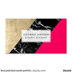 Neon pink black marble gold foil color block Double-Sided standard business cards (Pack of 100)