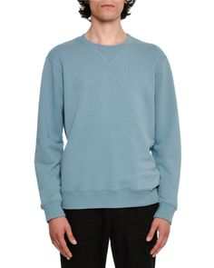 Cotton Crewneck Sweatshirt with Elbow Patches