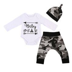 Baby Clothing Toddler Kids Baby Boys Arrow Long Sleeve Romper +Camo  Longdresskily c14b0ea74d33