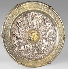 A Rosewater or Sideboard dish (shield) designed by Antoine Vechte for Elkington Fantasy Adventurer, Shield Design, Crystal Palace, Ancient Artifacts, Vintage Walls, Metal Working, Antique Silver, Sculptures, Mid Century
