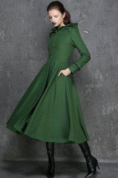 Las mujeres abrigos abrigo capa de verde esmeralda por xiaolizi