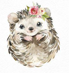 Baby Animal Drawings, Cute Drawings, T-shirt Kunst, Watercolor Animals, Watercolor Paintings, Woodland Animals, Woodland Forest, Nursery Art, Nursery Decor