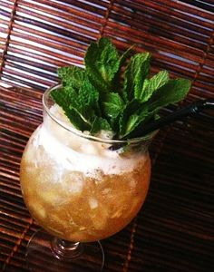 Hot Pimento Swizzle |   Ingredients:  1 oz ( 2.5 cl) pineapple juice 1 oz fresh lime juice 1 barspoon falernum 1 oz Appleton Estate V/X Jamaican rum 1 oz green Chartreuse Pimento Method:  Swizzle with crushed ice until frosty and top with Pimento, garnish with a good bunch of fresh mint.  This drink is a take on the Chartreuse swizzle and it´s herbal and fresh, gingery and strong!