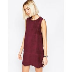 ASOS WHITE Suede Tunic Dress ($162) ❤ liked on Polyvore featuring dresses, burgundy, tall dresses, round neck dress, zipper dress, zip dress and white zipper dress