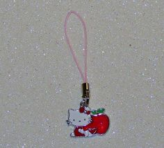 "ADORABLE LITTLE CAT CELL PHONE CHARM-RED-PINK-WHITE-3 1/4"" LONG-PLUS FREE GIFT-$3.99 