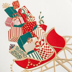 Engraved Brimming Sleigh Holiday Greeting Card: Santa's preferred mode of transportation takes the spotlight on this Christmas card. Filled with perfectly wrapped presents, one can't help but anticipate his annual arrival.