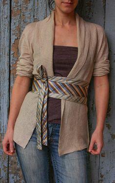 Classic Stripes Upcycled Silk Ties Obi Corset Belt Cream Blue. $38.00, via Etsy.