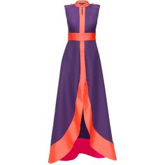 LATTORI Dress with Bright Orange Detail (645 CAD) ❤ liked on Polyvore featuring dresses, lattori, gowns, orange cotton dress, orange dress, bright dresses, long length dresses and bright purple dress