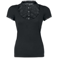 Shirt with floral lace made of 100% polyester on the chest and sleeves, row of buttons and small stand-up collar. $26
