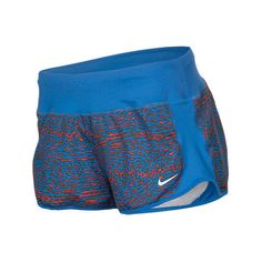 Nike Women's Crew 3 Inch Print Running Shorts, Blue ($20) ❤ liked on Polyvore featuring activewear, activewear shorts, blue, blue jersey, nike, nike activewear, athletic sportswear and nike jerseys