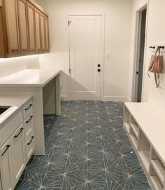 Laundry Room Colors, Blue Laundry Rooms, Laundry Room Tile, Laundry Room Remodel, Blue Tiles, White Tiles, New Home Wishes, Geometric Tiles, Room Goals