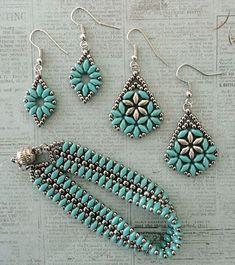 Linda's Crafty Inspirations: Mystery SuperDuo Bracelet Set - Turquoise & Silver