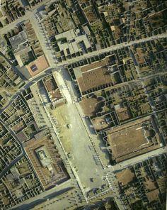 Aerial view of the forum, Pompeii, Italy. 1) forum, 2) temple of Jupiter (Capitolium), 3) basilica