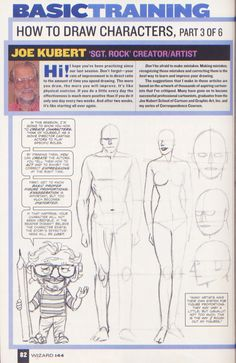 Scan from Wizard Magazine 144. Basic Training: Part 3 of 6 Joe Kubert shows how to draw characters p82.