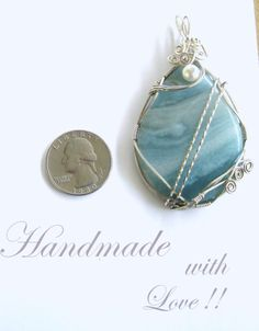 Amazonite Necklace Pendant Handmade Wire Wrapped by TheGlitterShop