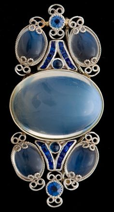 Moonstone & Sapphire Brooch Attributed to Louis Comfort Tiffany circa 1910.