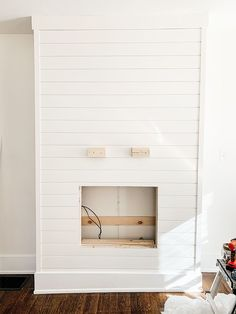 Diy Fireplace Mantel, Fireplace Tv Wall, Build A Fireplace, Fireplace Built Ins, Shiplap Fireplace, Small Fireplace, Bedroom Fireplace, Fireplace Remodel, Living Room With Fireplace