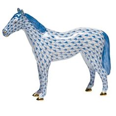 HUNGARIAN PORCELAIN ~ Herend blue horse.  A gift for Becca when she's older.