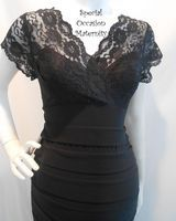 2320S Long Formal BodyCon Fitted Lace Bodice Stretchy Maternity Dress