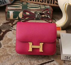Hermes Constance Bag in rose tyrien withtogo leather Hermes Constance Bag, Popular Purses, Small Handbags, Designer Bags, Large White, Purses And Bags, Shoulder Bag, Retro, Rose