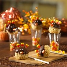 """Turkey Pop Treats®: Dip rice-krispie-treat balls into melted chocolate, add a few candy corn """"feathers,"""" and pop these tasty turkeys on top of lollipop sticks for a cute and creative Thanksgiving dessert. Rice Krispies, Rice Krispie Turkey, Rice Krispie Treats, Cereal Treats, Thanksgiving Treats, Fall Treats, Holiday Treats, Holiday Fun, Thanksgiving Turkey"""